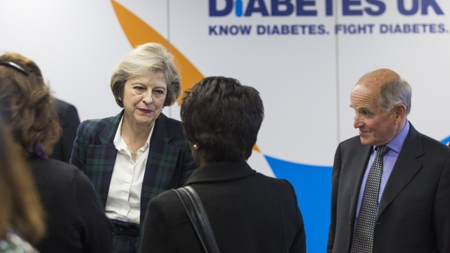 Theresa May speaking to Diabetes UK volunteers and staff members last year. The Prime Minister was misdiagnosed when doctors originally thought she had type 2.