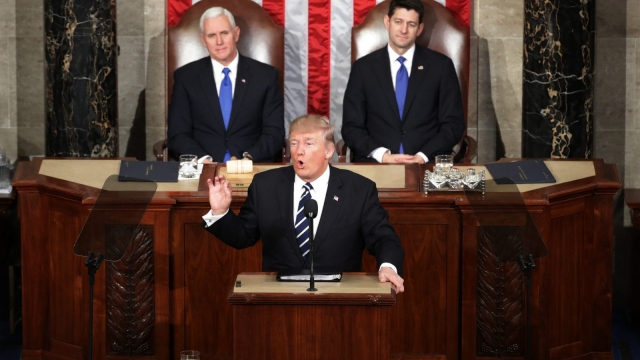 Donald Trump, with Vice President Mike Pence and Speaker Paul Ryan behind him, addresses Congress (Photo: Getty)