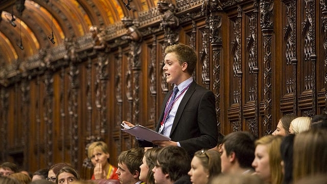 Owen Winter speaking in the House of Lords at a UK Youth Parliament event in December 2015.