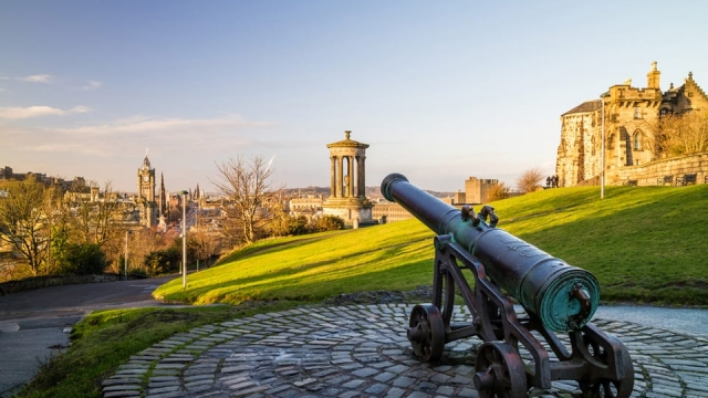 A sun drenched Edinburgh from Calton Hill