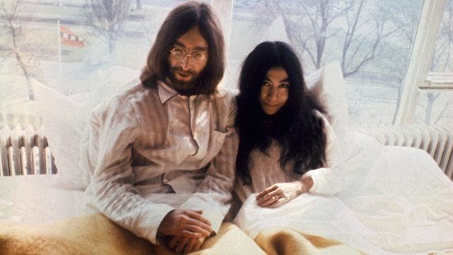 Already peaked: John Lennon, 29, and Yoko Ono, 36, spending a week in bed to protest against world violence in 1969, months before the Beatles split. (Photo: Getty)