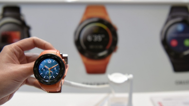 Picture shows Chinese multinational networking and telecommunications equipment and services company Huawei's new Watch 2 4G after its presentation in Barcelona on February 26, 2017 on the eve of the start of the Mobile World Congress. Phone makers will seek to seduce new buyers with even smarter Internet-connected watches and other wireless gadgets as they wrestle for dominance at the world's biggest mobile fair starting tomorrow. / AFP / LLUIS GENE (Photo credit should read LLUIS GENE/AFP/Getty Images)