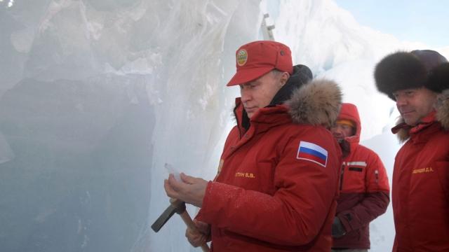 Russian President Vladimir Putin inspects an ice cavern in Franz Josef Land in the Arctic Sea last week (Photo: Getty)