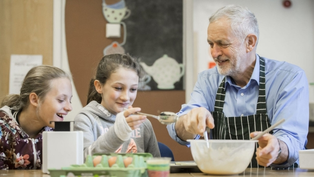 Labour leader Jeremy Corbyn during a cooking session as he visited a children's holiday club in Lancashire to launch a new policy to fund universal free meal in primary schools by imposing VAT on private school fees. (Photo: PA)