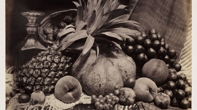 Roger Fenton, Still Life with Fruit and Decanter (1860, Albumen print) (Photo: © The RPS Collection at the Victoria and Albert Museum London)