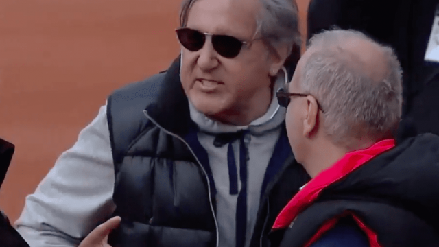 Nastase was later escorted from the stadium after using foul and abusive language towards the umpire and British players (Picture: BT Sport)