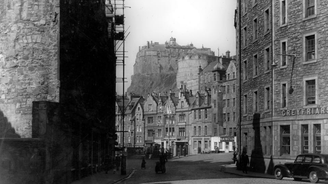 The Grassmarket looking towards Edinburgh Castle from the Cowgate junction in the 1950s