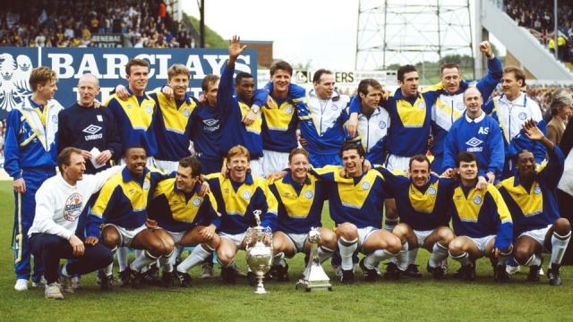 Leeds United celebrate winning the First Division trophy in 1992