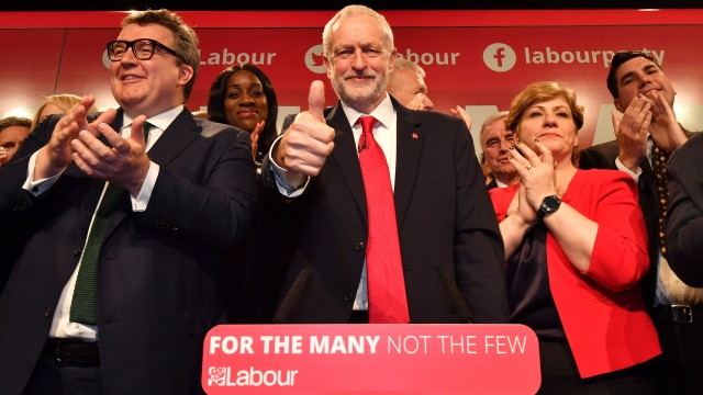 Jeremy Corbyn launches the Labour campaign in Manchester with other senior party figures including Tom Watson (left) and Emily Thornberry (right) (Photo: Getty)