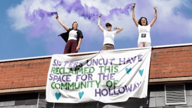 The protesters demanded the empty site of the now closed prison be used for the local community. Photograph: Bex Wade