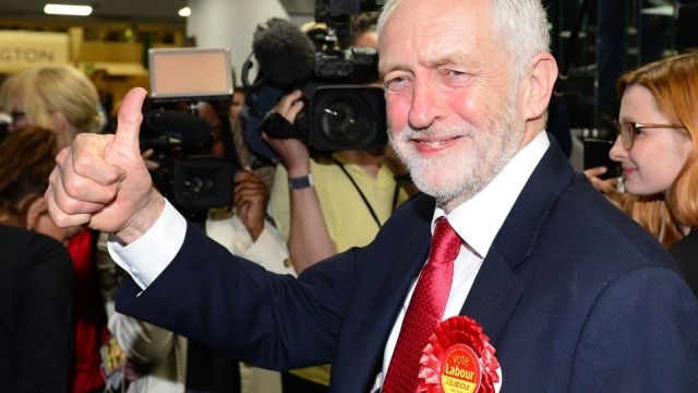 Jeremy Corbyn celebrates on election night - but he is only halfway there (Dominic Lipinski/PA Wire)