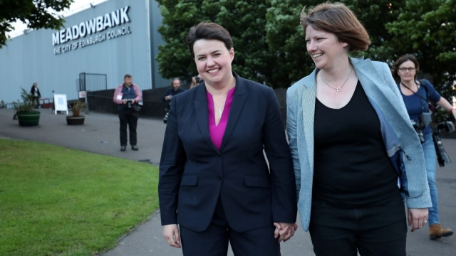Scottish Conservative leader Ruth Davidson with her partner Jen Wilson (Photo: PA)
