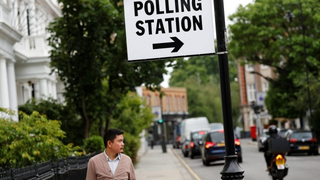 A sign marking a polling station is seen in Kensington, London (Photo: Reuters)