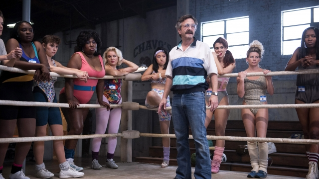 The cast of GLOW get to grips with wrestling
