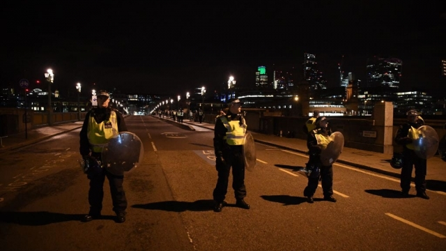 Police officers on London Bridge after the attack last night (Photo: Getty)