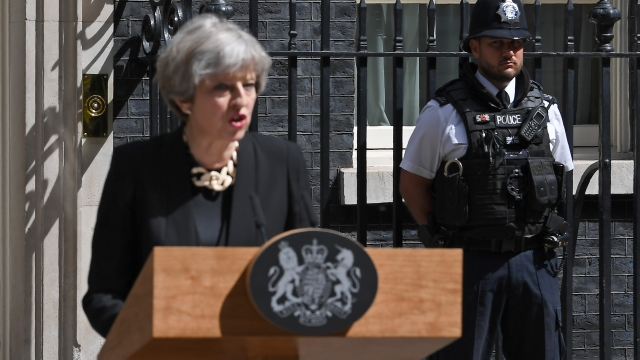 The Prime Minister Theresa May made a statement outside No 10 on Sunday morning. Photo: Getty