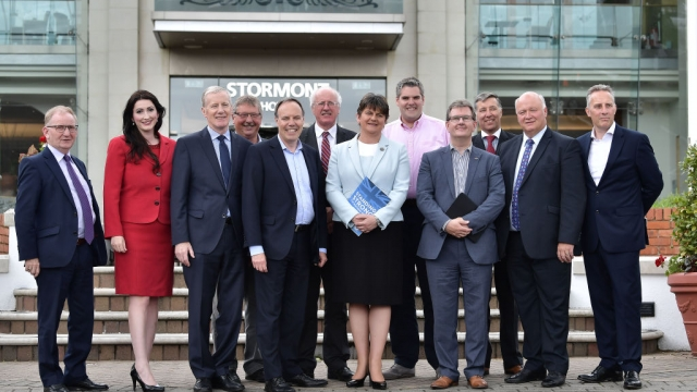 DUP leader Arlene Foster with the DUP's newly elected MPs