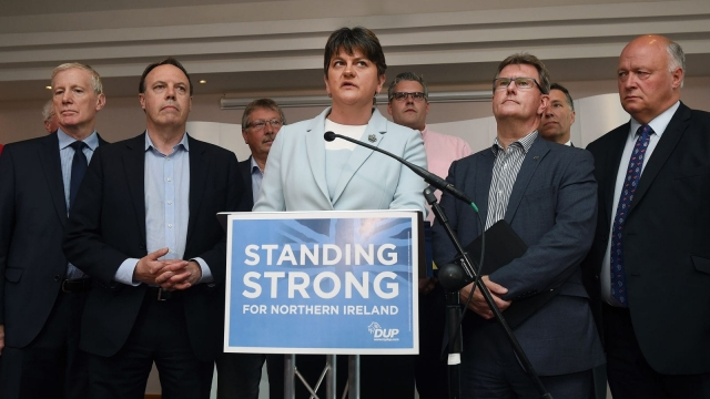DUP leader and Northern Ireland former First Minister Arlene Foster with the DUP's newly elected Westminster candidates. Photo: Getty.