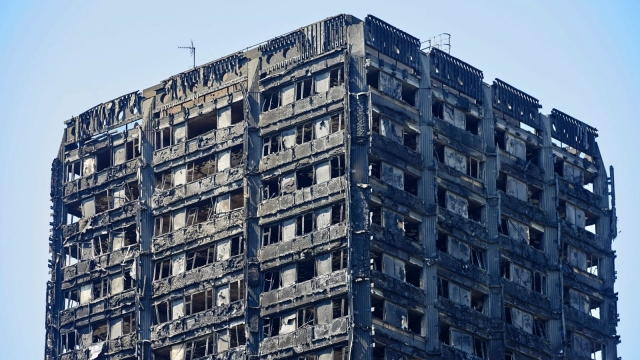 The charred remnains of the Grenfell Tower block. Photo: Getty