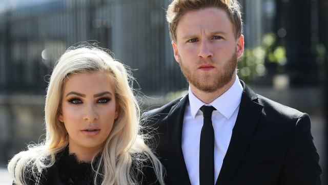 Model Laura Lacole and footballer Eunan O'Kane have won a landmark High Court battle to secure official recognition of their humanist wedding (Photo: Brian Lawless/PA Wire)