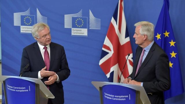 David Davis with the EU's top Brexit negotiator Michel Barnier in Brussels: progress is slow (Photo: Getty)