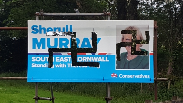 Nazi swastikas were daubed on the posters of Conservative candidate Sheryll Murray in Cornwall