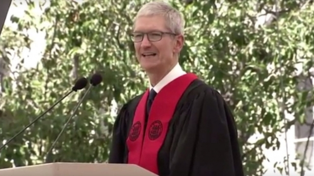 Apple chief executive Tim Cook addresses graduating students at MIT (Photo: Time/YouTUbe)