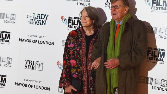 Maggie Smith and Alan Bennett at the premiere for The Lady in the Van.