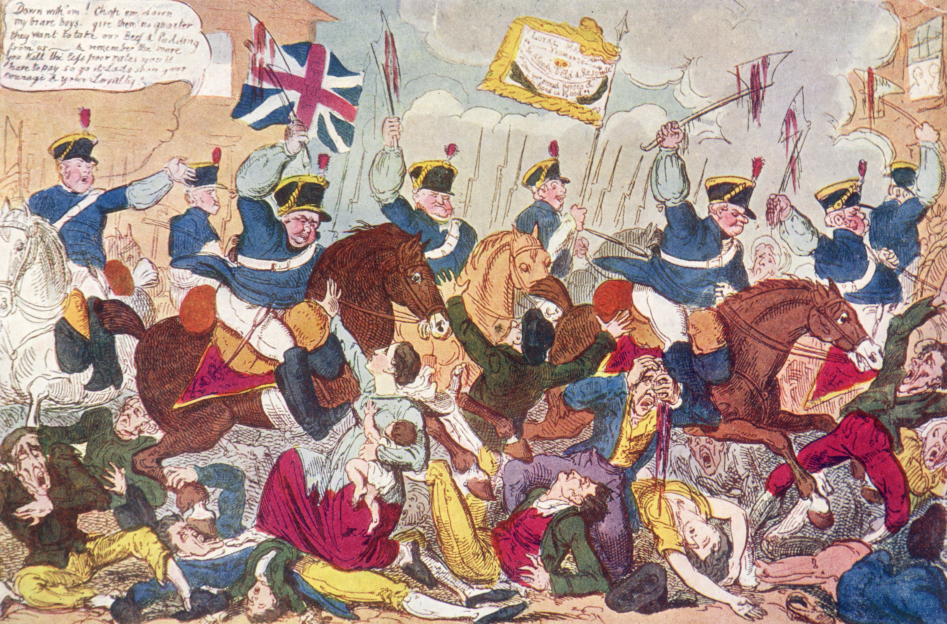 The Peterloo Massacre by George Cruikshank (Photo by Spencer Arnold/Getty Images)