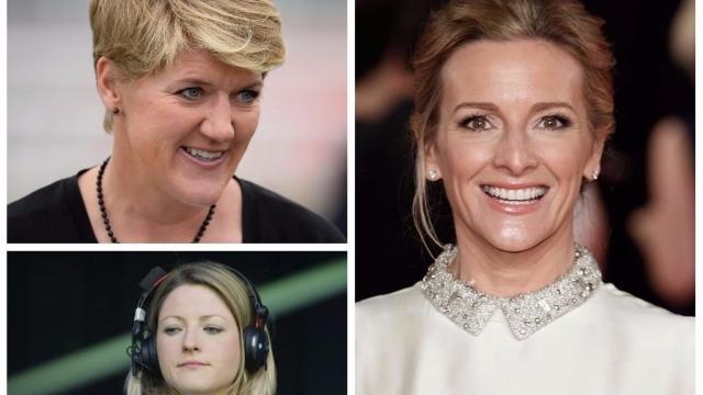 Clare Balding, Gabby Logan and Jacqui Oatley, three prominent female sports presenters (Photo: Getty)