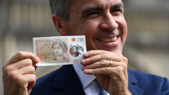 Mark Carney, the Governor of the Bank of England, launched the new Jane Austen £10 today (Photo: Reuters)