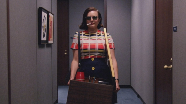 Peggy Olson shows how to turn up at your new place of work with a hangover in the final season of Mad Men