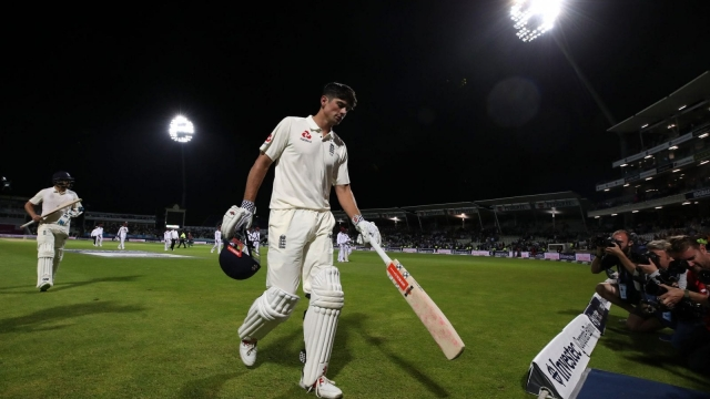 England's Alastair Cook walks off after the close of play during day one of the First Investec Test match at Edgbaston, Birmingham