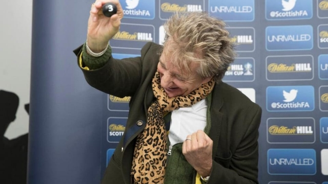 Rod Stewart clearly enjoys himself at the Scottish Cup draw