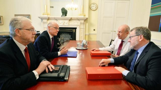 Damian Green and David Mundell met John Swinney and Michael Russell in London (Photo: PA)
