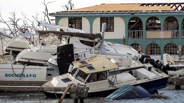 Witnesses described boats piled in the harbour of Tortola, the largest of the British Virgin Islands, 'like toys'. Residents say the territory's infrastructure has been decimated by Hurricane Irma. (Photo: Ministry of Defence)