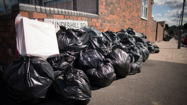 Household rubbish begins to pile high on the streets of Alum Rock in Birmingham as the refuse collector strike entered its sixth week earlier this month. (Photo by Christopher Furlong/Getty Images)