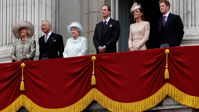 "Team Windsor: The appearance of the Prince of Wales, the Duchess of Cornwall, the Cambridges and Prince Harry on the Buckingham Palace alongside the Queen for her Diamond Jubilee Celebrations in 2012 was widely interpreted as the unveiling of the slimmed-down ""five-a-side"" Royal Family that will follow the succession. (Photo: Getty)"
