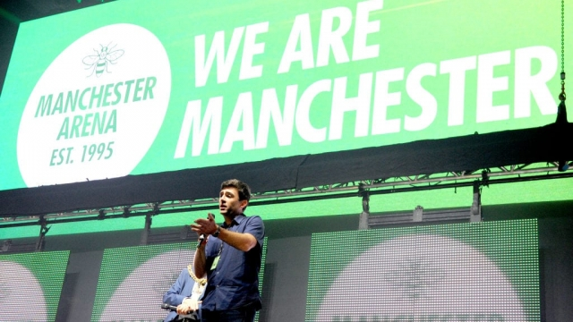 Manchester Mayor Andy Burnham at the We Are Manchester benefit concert.