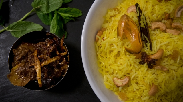 Slow cooked lamb curry and Bengali fried rice