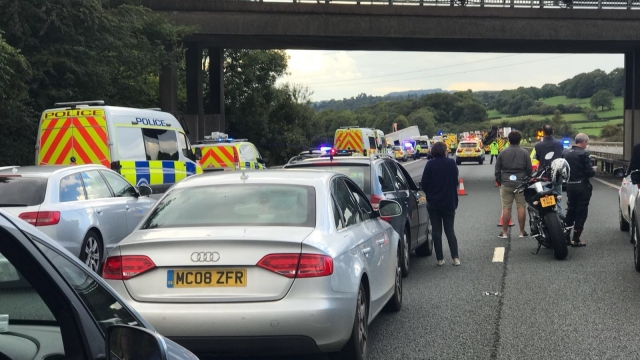 The scene on the M5 motorway after four people died following a crash involving several vehicles (Photo: PA)