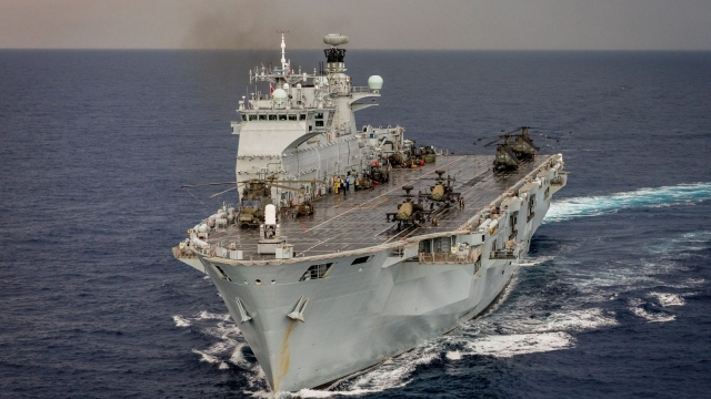 HMS Ocean, the Royal Navy's flagship, has been tasked to sale to the Caribbean to spearhead Britain's reconstruction efforts on islands devastated by Hurricane Irma. At the same time it is also being marketed to the highest bidder at the world's largest defence fair, which opened on Tuesday in London's Docklands.