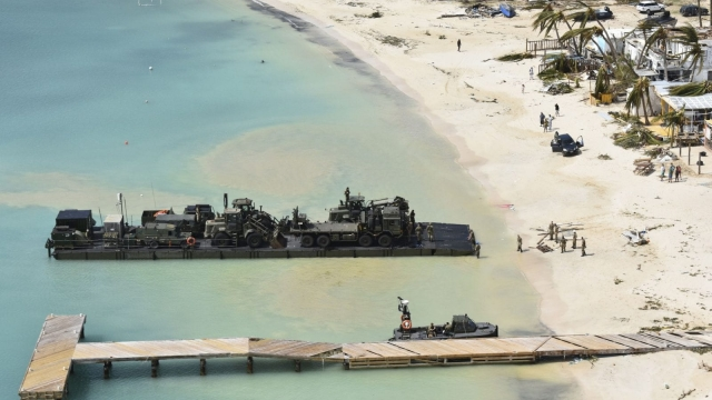 Royal Navy landing ship RFA Mounts Bay has delivered six tonnes of emergency aid to Anguilla after the British Overseas Territory was devastated by Hurricane Irma. (Photo: Getty)