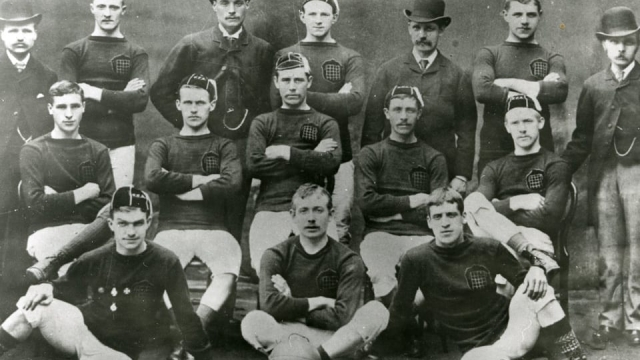 "The record holders: John ""Jocky"" Petrie sits on the bottom left of this Arbroath team photo"