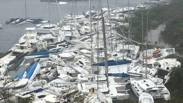 Pleasure craft lie crammed against the shore in Paraquita Bay as the eye of Hurricane Irma passed Tortola, British Virgin Islands