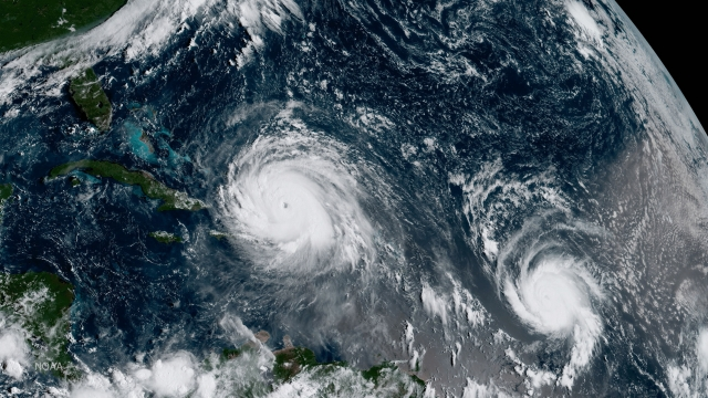 Hurricane Irma can be seen on the left - and Hurricane Jose on the right - in the Atlantic Ocean