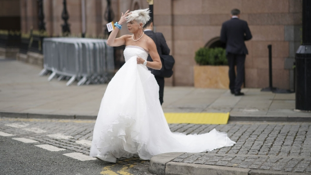 Katie Hopkins in a wedding dress to promote a fringe event at Conservative conference this year (Photo: Getty)
