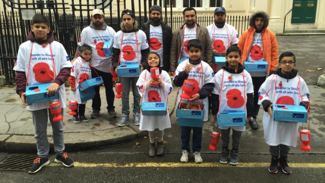 """Saidya Rahman, pictured centre, collecting money for the Poppy Appeal, objected to David Cameron's suggestion that Muslim women are """"traditionally submissive""""(Photo: Hazik Rahman)"""