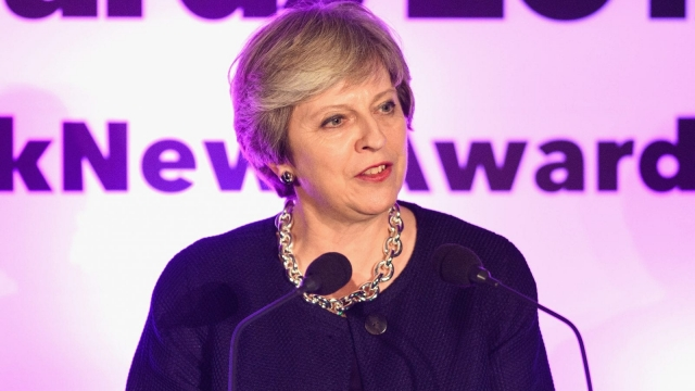 Theresa May, speaks at the Pink News Awards. (Photo by Pink News Via Getty Images)