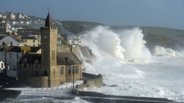 Article thumbnail: The harbour at Porthleven, Cornwall, was battered by Hurricane Ophelia in October 2016 (Photo: PA)